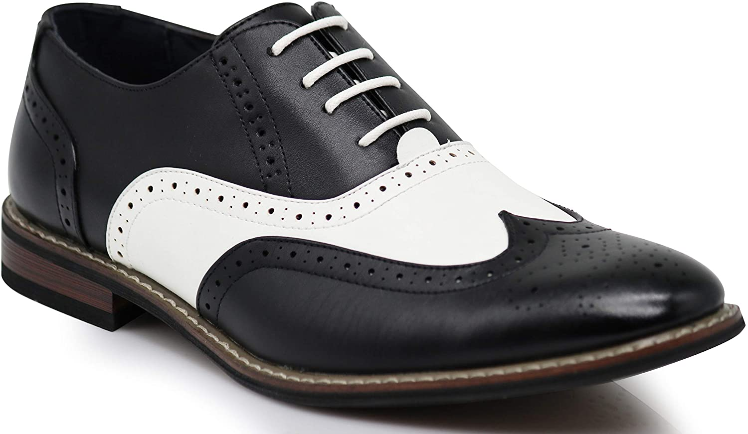 | Wooden08N Men's Two Tone Wingtips Oxfords Perforated Lace Up Dress Shoes | Oxfords