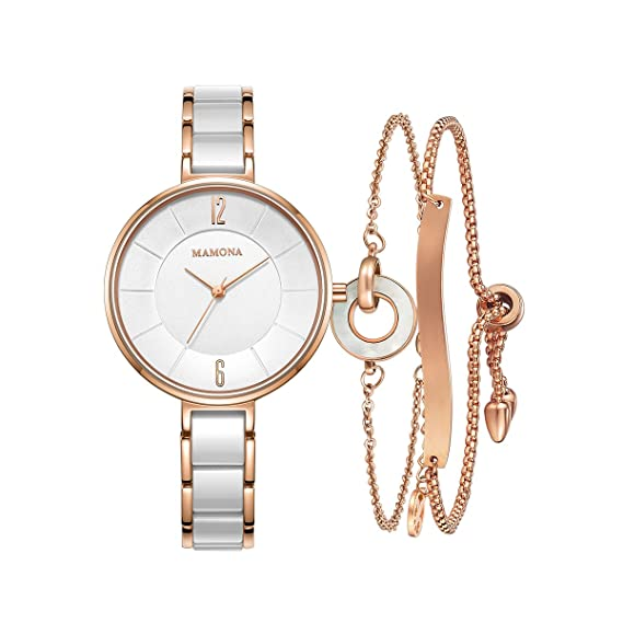 bd8b27145 Image Unavailable. Image not available for. Color: Ladies Quartz Watch  Women bracelet set MAMONA Rose Gold White Ceramic and Stainless Steel Watch  3887LRGT