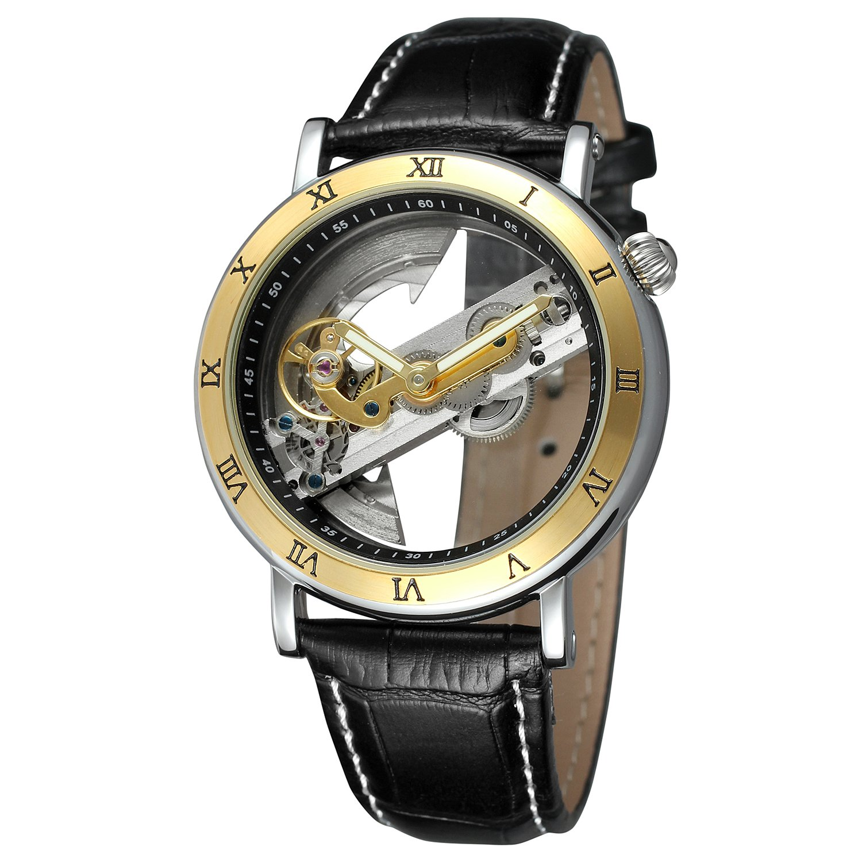 FORSININGメンズユニークなデザインラグジュアリー自動Movt人気スタイルGenuineレザーストラップスケルトン腕時計 B07214MPJ1