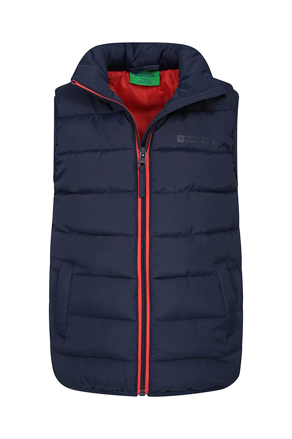 86668f39659 Mountain Warehouse Rocko Kids Padded Gilet - Water Resistant Rain Coat,  Microfibre Padded Vest, Two Front Pockets Childrens Jacket - Ideal Body  Warmer ...