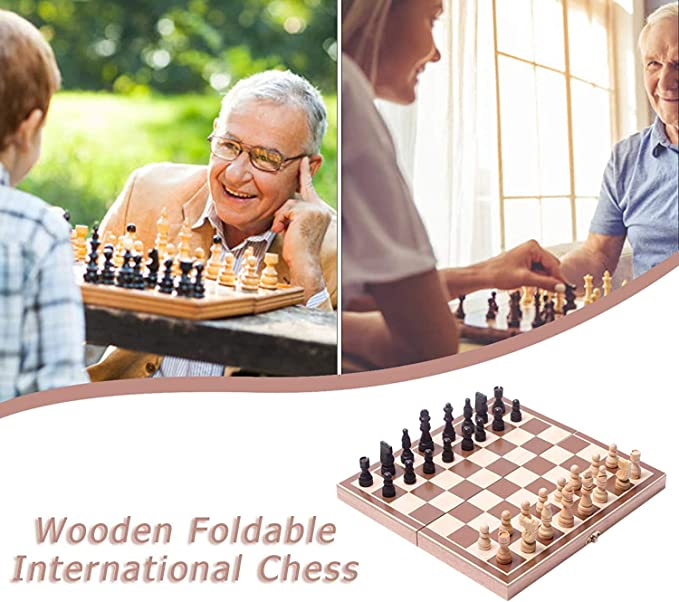 DUWIN Chessboard Folding Wood Chess Set with Felt Game Tray Inside Adult Wood Exchequer