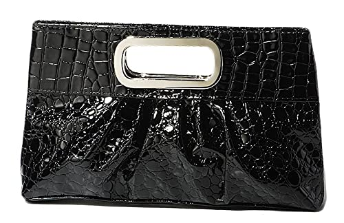 67a9318cd1b1 Chicastic Oversized Glossy Patent Leather Casual Evening Clutch Purse with  Metal Grip Handle - Black
