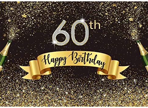 DaShan 12x8ft Happy 60th Birthday Backdrop Women Lady Diamond Black and Gold Glitter Balloons Ribbon Celebration Photography Background 60 Birthday Decoration Cake Table Banner Photo Props