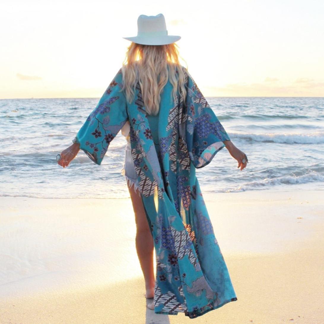Nikuya Women Floral Bohemian Chiffon Beach Long Oversized Kimono