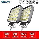 TALMYT 48W 広角 LEDワークライト 作業灯 2個セット 投光タイプ 6500K IP67防水・防塵・耐衝撃・長寿命 薄型 16連10-30VDC対応 12V/24V兼用(2年保証)