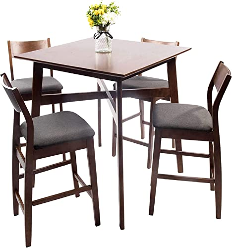 Dporticus 5-Piece Kitchen Dining Room Sets Rustic Industrial Style Wooden Kitchen Table and Chairs