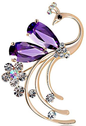d911cec03b18 De pavo real para mujer Latigerf morado con cristales de Swarovski broches  de cristal y pines chapado en oro para fiestas  Amazon.es  Joyería