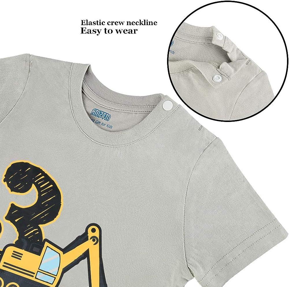 AMZTM 3/º Cumplea/ños Cami/ón de Construcci/ón Party Camiseta Beb/é Ni/ño Manga Corta
