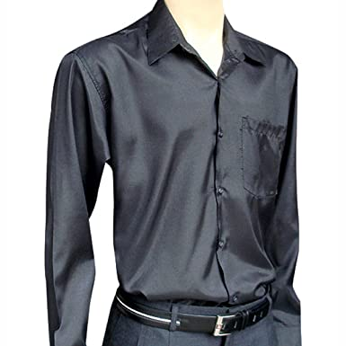 Men's BLACK LONG Sleeve Thai Silk Shirt - XXXL at Amazon Men's ...