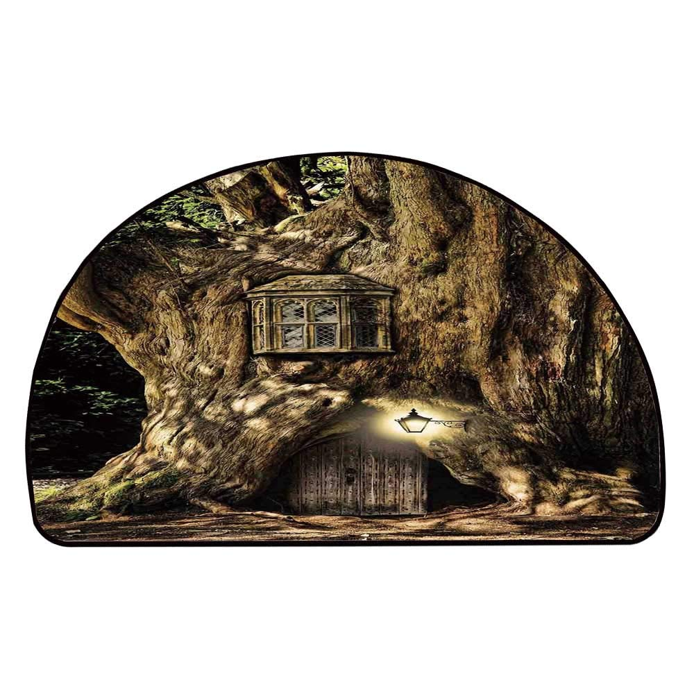 C COABALLA Fantasy Comfortable Semicircle Mat,Fairytale House in Tree Trunk in Forest with Lanterns Folk Stories Themed Design for Living Room,11.8'' H x 23.6'' L