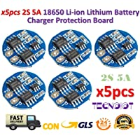 TECNOIOT 5pcs 2s 5a Li-Ion Litio lipo 7.4v 8.4v 18650 Charger Battery Protection Board