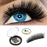 Magnetic Eyelashes Dual Magnetic False Eyelashes 3D Reusable Fake Magnet Eyelashes, No Glue 0.2MM Ultra Thin Fake lashes for Ultra Soft Natural Look & Handmade Seconds to Apply (1 pair 4 pieces)