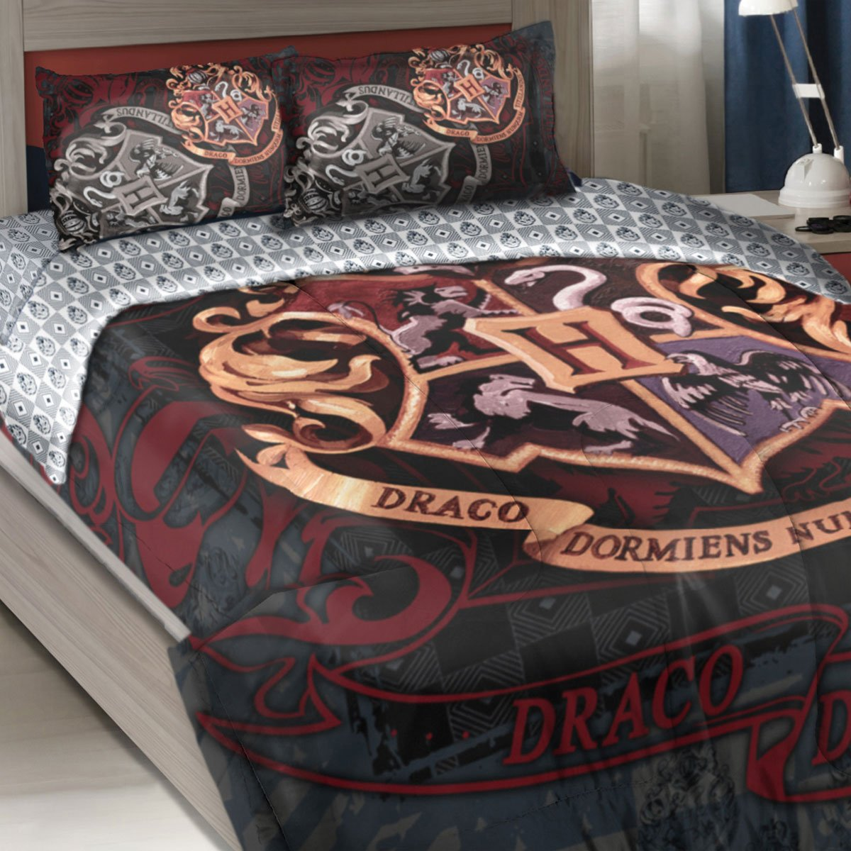 Officially Licensed Twin Full Bed Comforter and Sham Set - Harry Potter School Motto