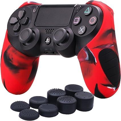 YoRHa Mitad Grueso silicona caso piel Fundas protectores cubierta para Sony PS4/slim/Pro Mando x 1 (Camuflaje rojo) Con PRO los puños pulgar thumb gripsx 8: Amazon.es: Videojuegos