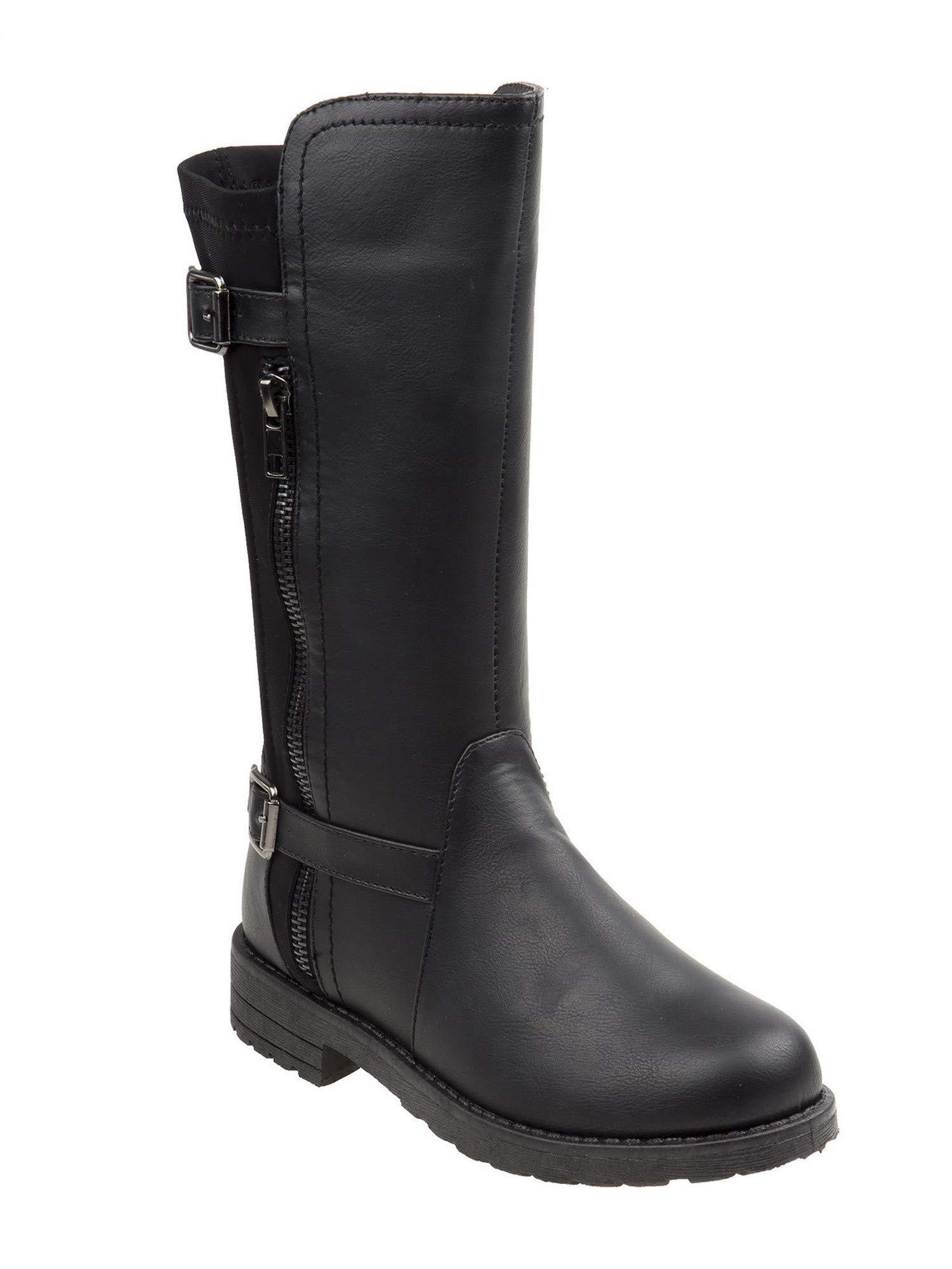 Kensie Girls Black Hi-Low Collar Buckle Strap Side Zip Tall Boots 13 Kids