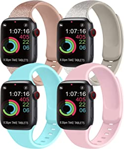 [Pack 4] Compatible with Apple Watch Bands 40mm 38mm for Women Men, Soft Silicone Bands Compatible with iWatch Series 6 5 4 3 2 1 & SE (Shine Rosegold/Shine Gold/Light Blue/Pink, 38mm/40mm-S/M)
