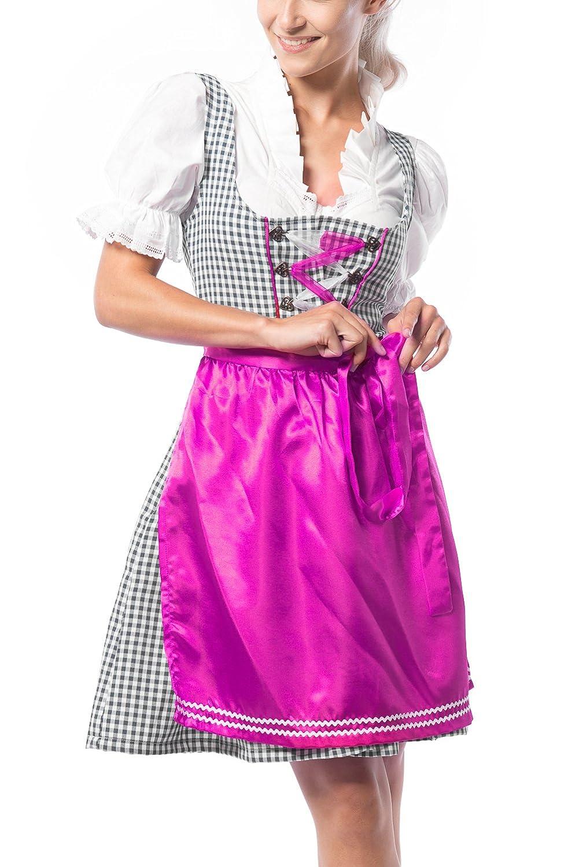 Partychimp Damen Dirndl Birgit Violett/Schwarz mit einer Bluße und Schürze, größe 36-46
