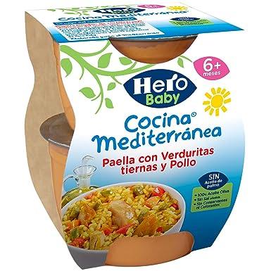 Hero Baby Cocina Mediterránea Paella con Verduritas Tiernas y Pollo Tarritos de Puré para Bebés a partir de 6 meses Pack de 6 u de 2 x 200 g