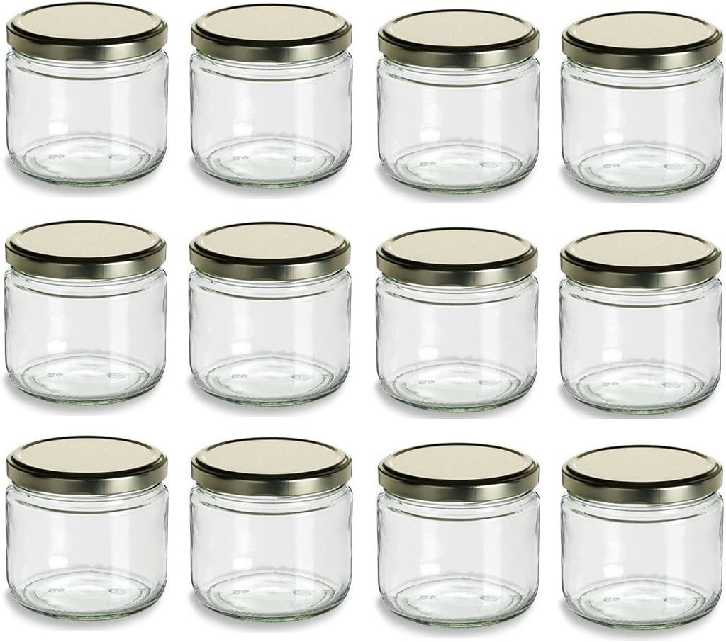 Nakpunar 12 oz Glass Salsa Jars with Gold Lid - Set of 12 - Made in USA (12, Gold)