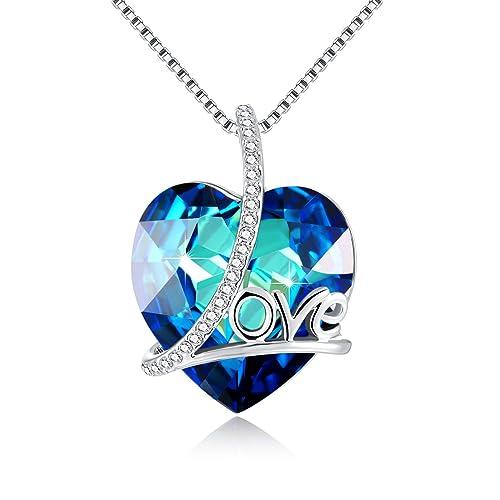 9cdfe750788aa Collar mujeres - cadenas de corazón con el amor - SWAROVSKI colgante de  corazón de cristal