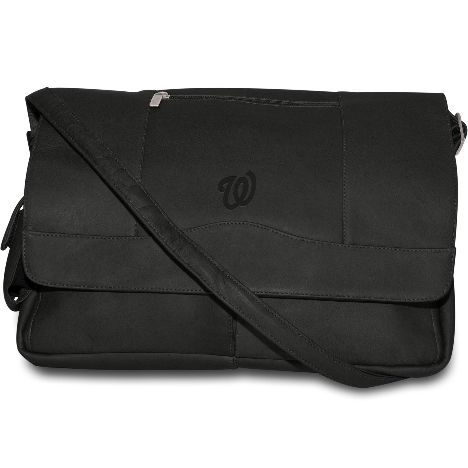 Pangea Brands MLB Schwarz Leder Laptop Messenger Bag