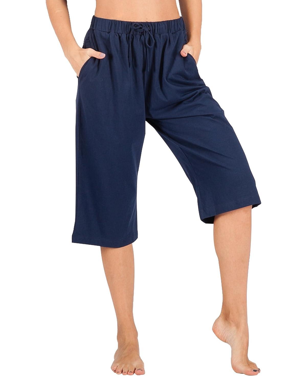 TALLA 40-42. WEWINK CUKOO 1/2 Piezas de Pijama para Mujer, Pantalones Capri Informales 100% algodón con Bolsillos