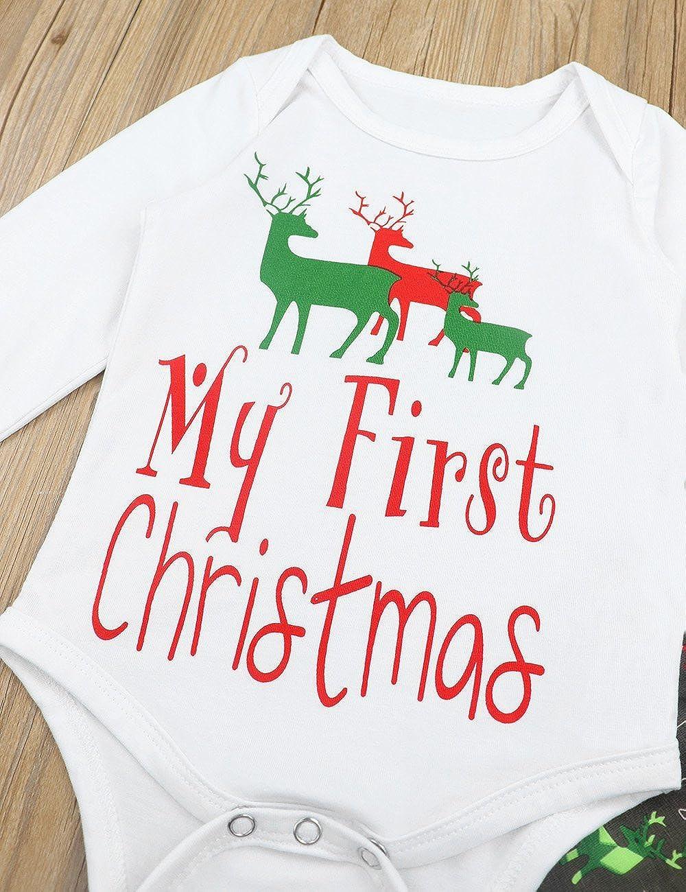 Yiner Baby Christmas Outfit Boys Girls Cute Deer Long Sleeve Romper ...