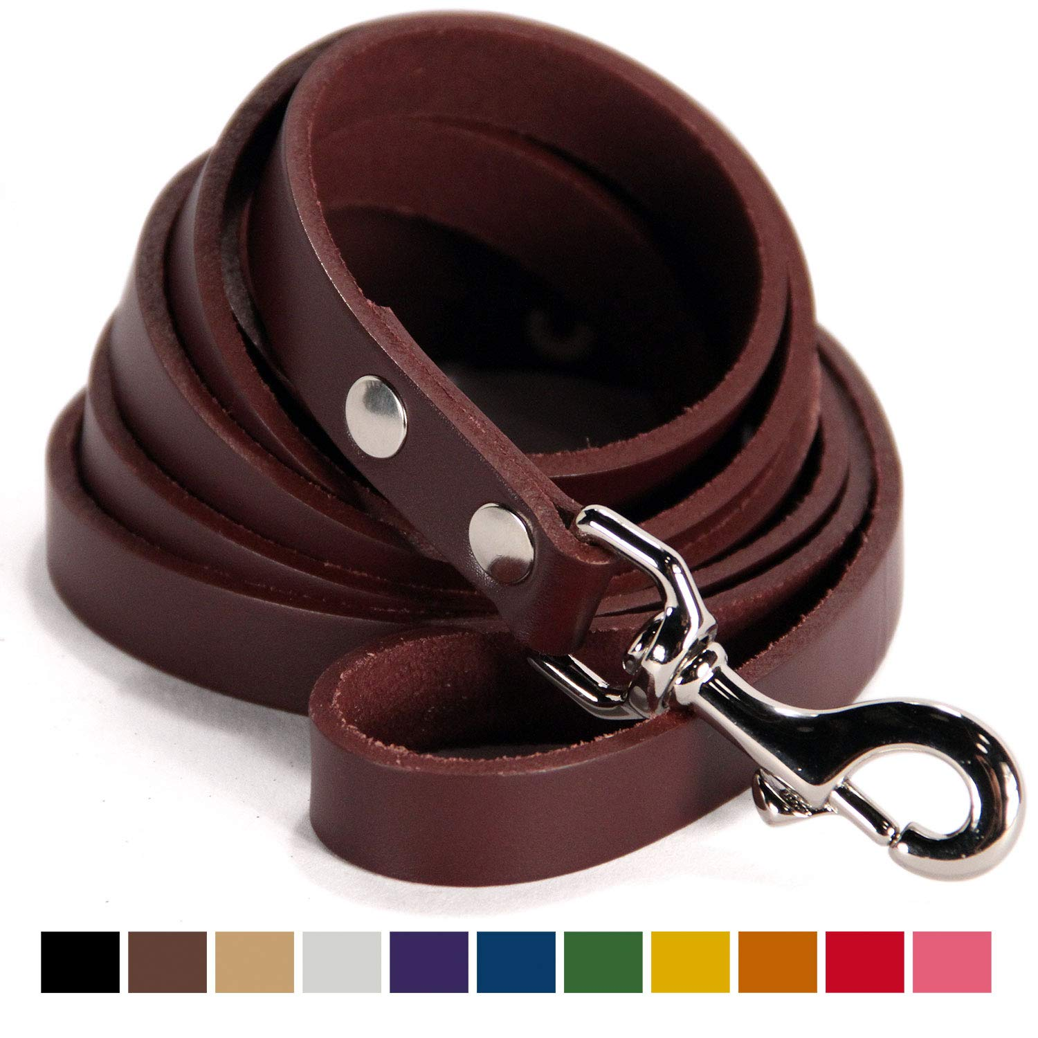 Logical Leather Dog Leash - 6 Foot Heavy Duty Water Resistant Full Grain Leather Lead; Best for Training - Cordovan
