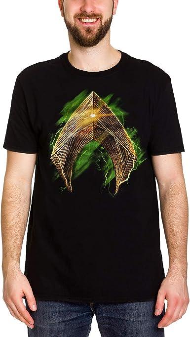 Aquaman Camiseta para Hombre del Logotipo Negro de algodón Liga de la Justicia de DC Comics Elbenwald: Amazon.es: Ropa y accesorios