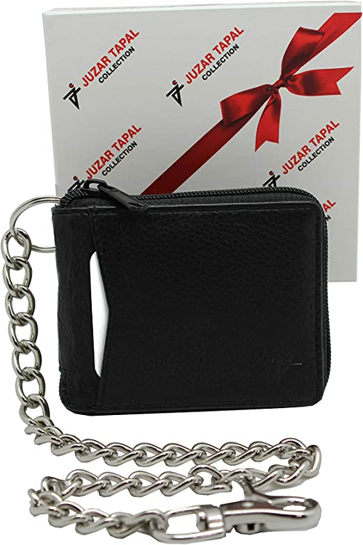 RFID Safe Biker Black Men/'s Leather Bi-Fold Ti-Fold with without Chain Wallet