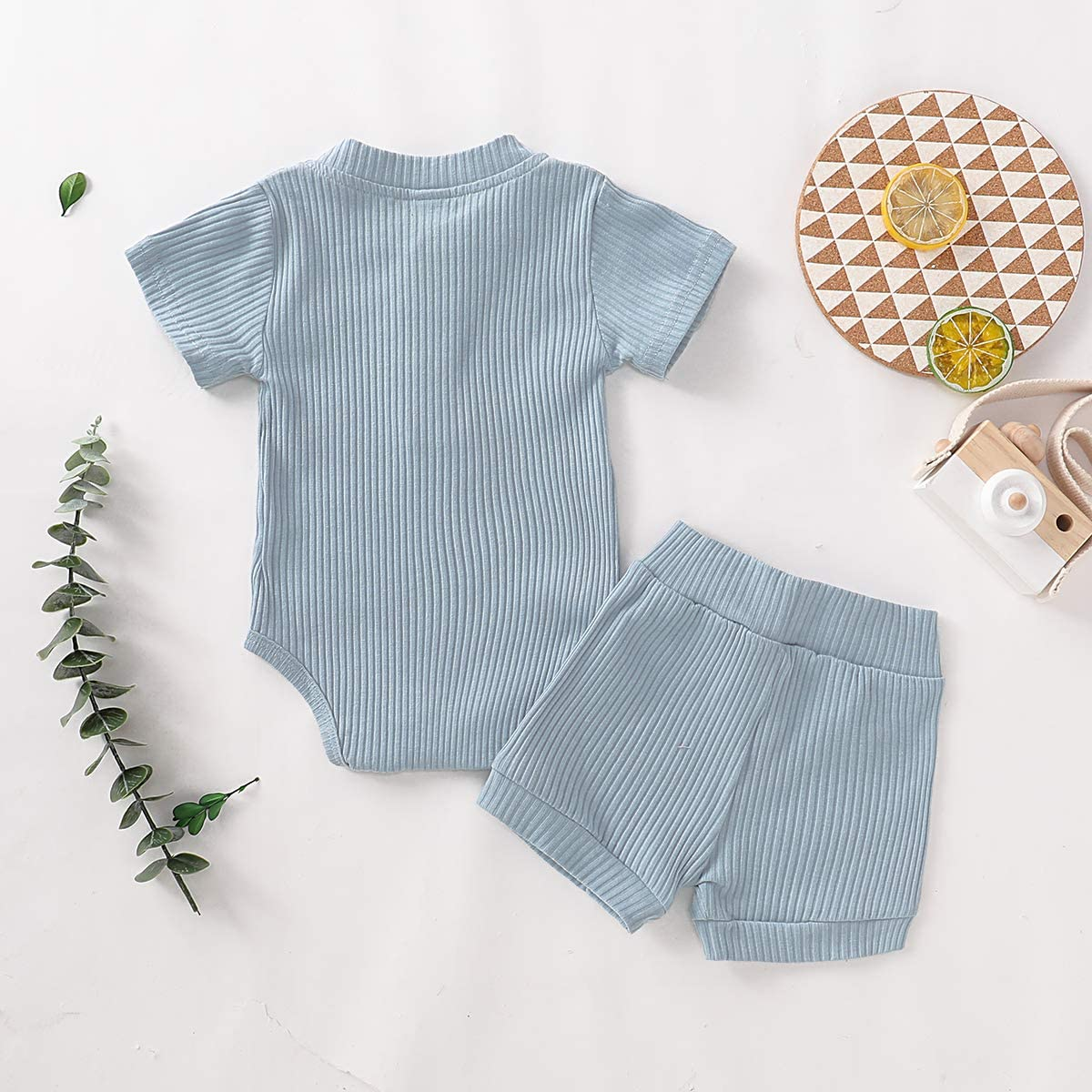 Shorts Toddler Outfits 2Pcs Newborn Baby Girls Boys Summer Clothes Sets Short Sleeve Solid Romper