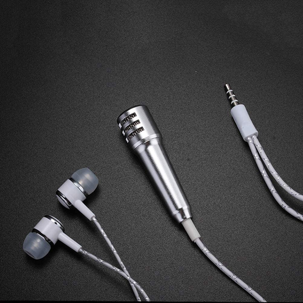 Silver Healifty Mini karaok/é Micro Mini t/él/éphone Micro avec casque pour Android IOS