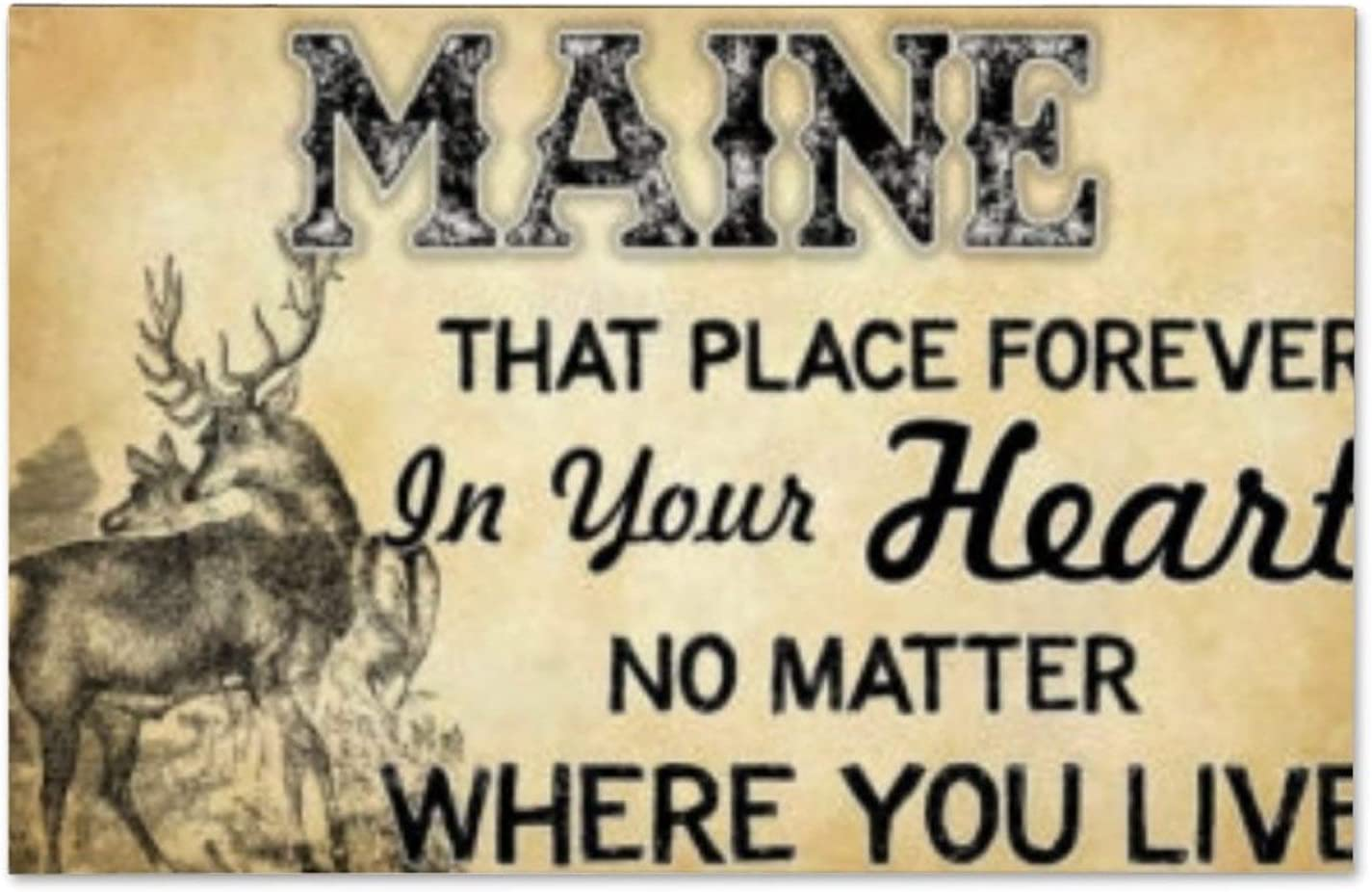 """VinMea Wood Plank Board,Wall Art Wooden Wall Hanging Art,Maine That Place Forever in Your Heart Inspirational Farmhouse Wall Plaque 12"""" X 18"""""""