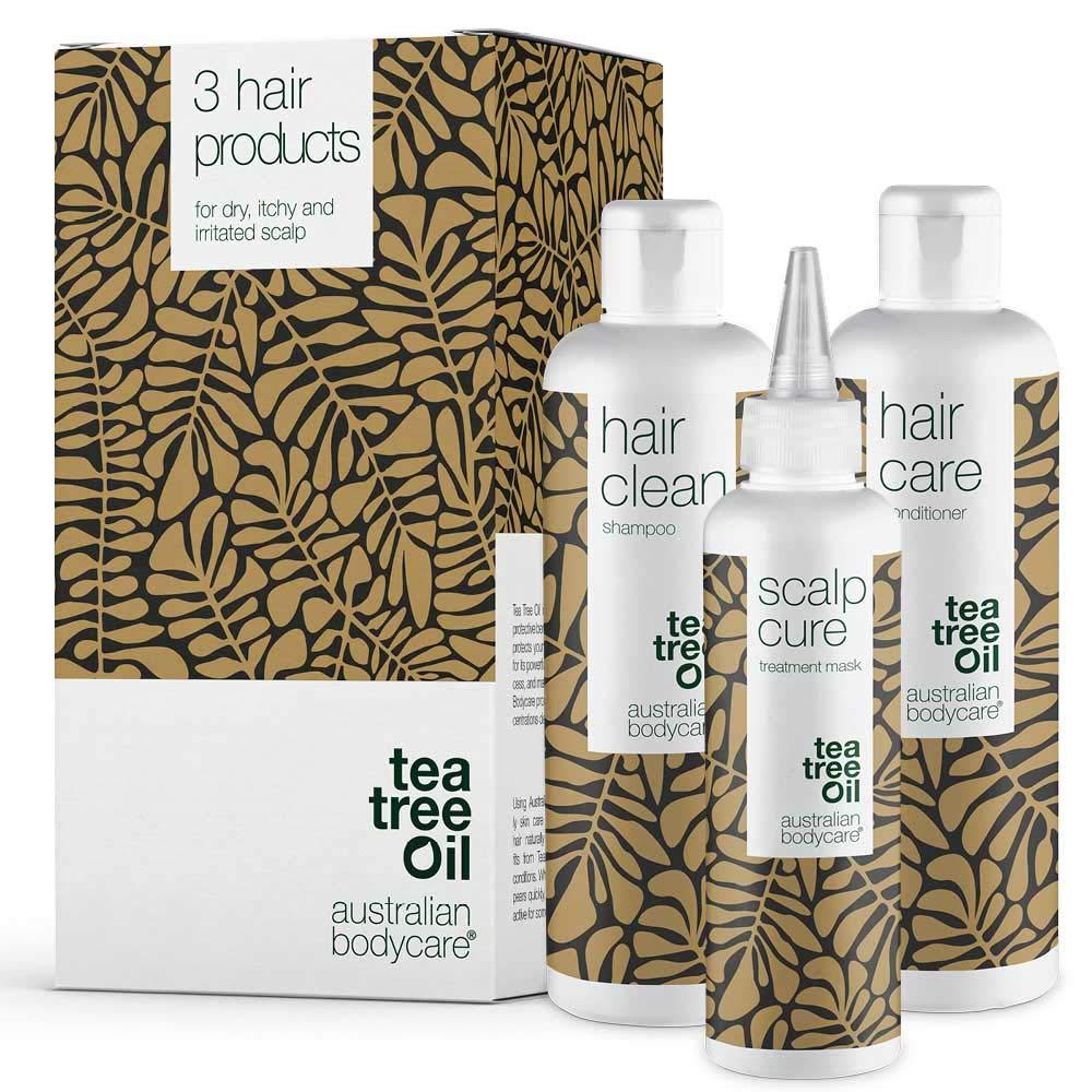 Australian Bodycare Scalp Treatment Set of 3 | Tea Tree Oil Scalp treatments for Dry Itchy Flaky Scalp & and Spots on scalp | Inside: Scalp Serum 5.07OZ + Shampoo 8.4OZ + Conditioner 8.4OZ