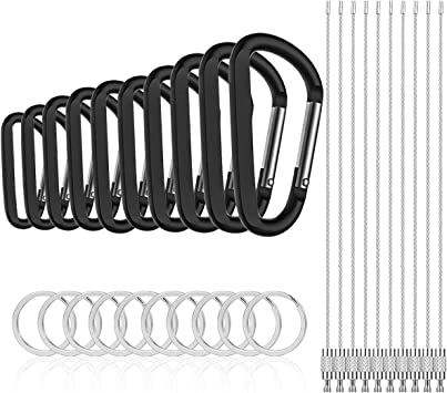 Michael Josh 10PCS 3 Carabiner Caribeaners Carabeeners Carabeaner Hook Clips,with 10PCS Wire Keychain 10PCS Keyrings