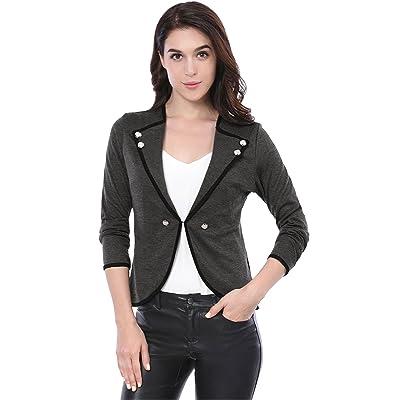 Allegra K Women's Casual Cardigan Lapel Buttons Decor Crop Blazer M Gray at Women's Clothing store