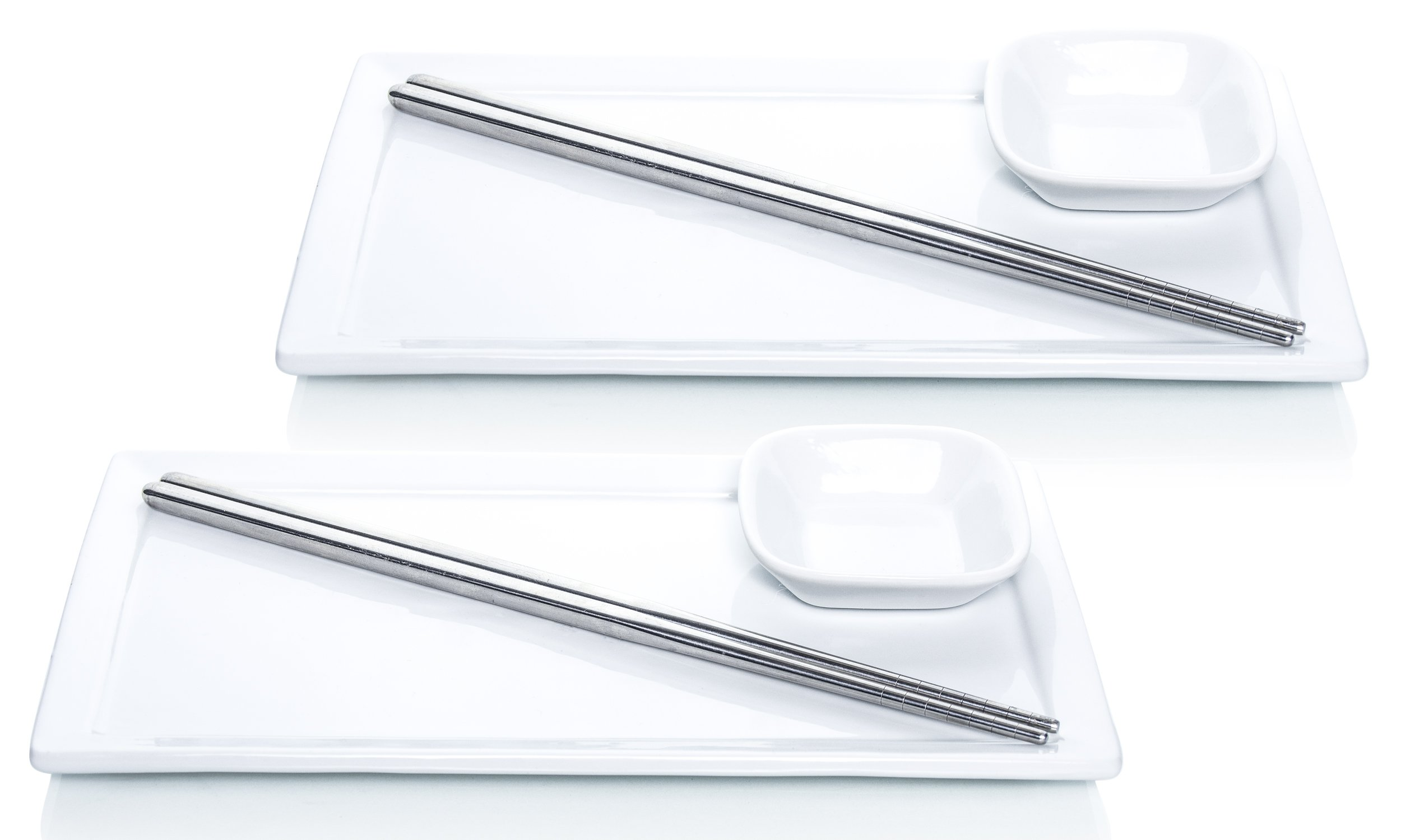 Tableau 6-Piece Sushi Dinner Set for Two, Includes Soy Sauce Plates, and Stainless Steel Chopsticks
