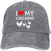 Unisex I Love My Chickens Low Profile Plain Baseball Cap Vintage Washed  Adjustable Dad Hat Trucker 83468f660e3e