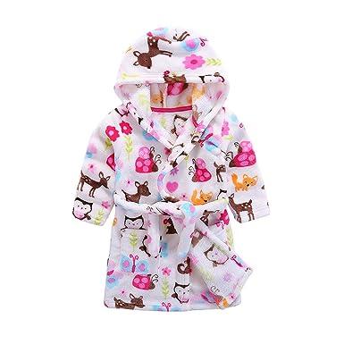 f5616dcfa Kids Soft Hooded Bathrobe Toddler Robe Children s Pajamas Boys Girls  Sleepwear (100 24M