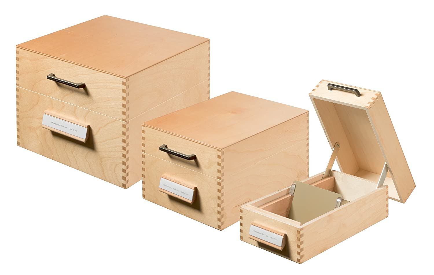 Amazon.com : HAN 507, Wooden Card Filing Box A7 Landscape, for 900 Cards, Metal Base/Support Plate, Natural Wood : Office Products