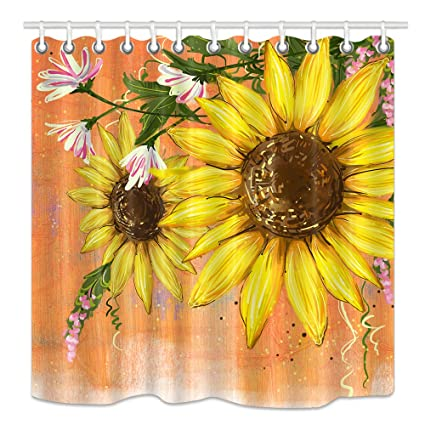 DYNH Flowers Shower Curtain Rustic Sunflowers In Spring Field Mother Earth Artsy Photo Mildew
