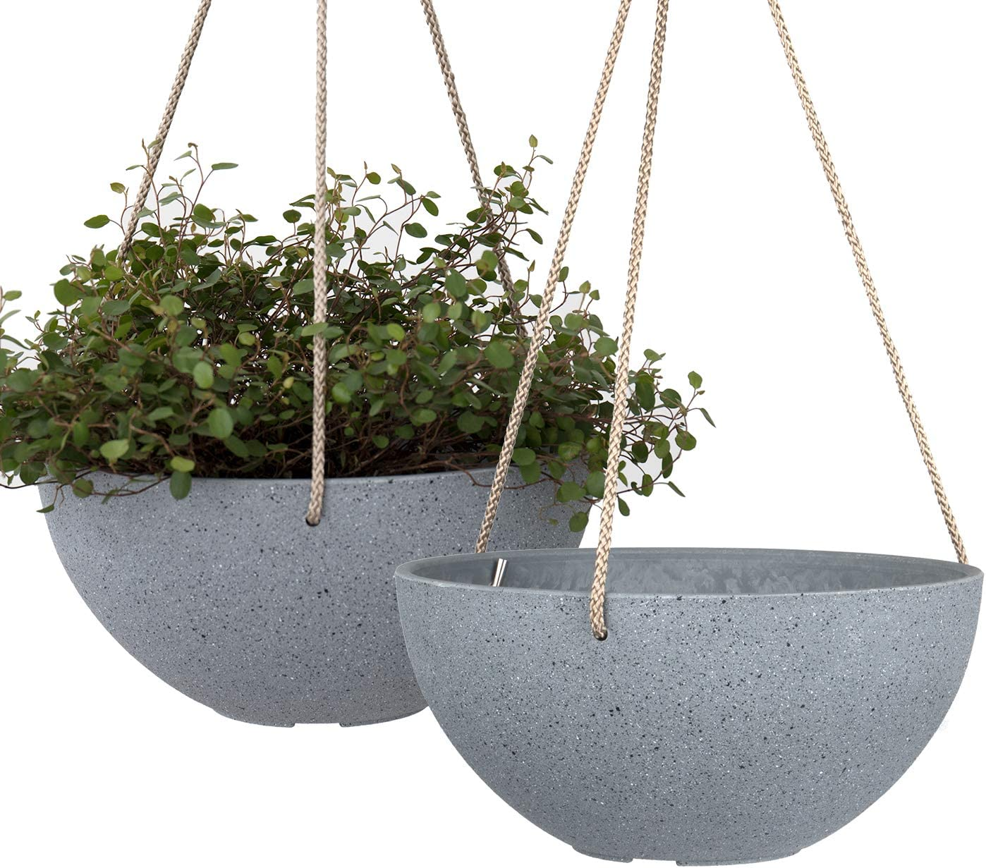 Hanging Planters for Indoor Plants - 10 Inch Flower Pots Outdoor Garden Planters Pots, Light Grey, Set of 2
