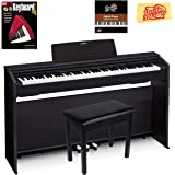 Casio Privia PX-870 Digital Piano - Black Bundle with Furniture Bench, Instructional Book, Online Lessons, Austin Bazaar Inst