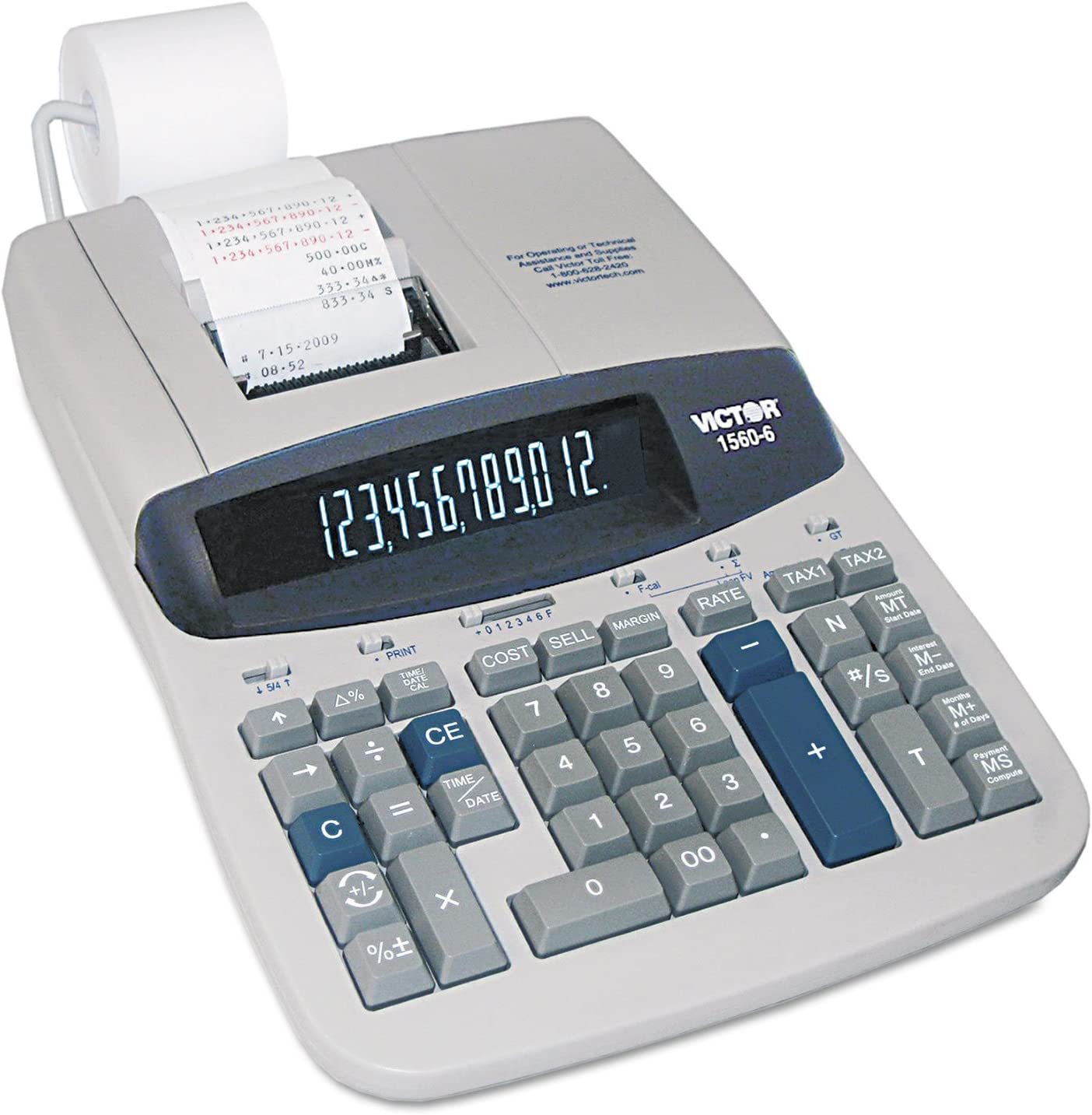 Black//Red Print Victor 26402 Two-Color Printing Calculator 4.6 Lines//Sec