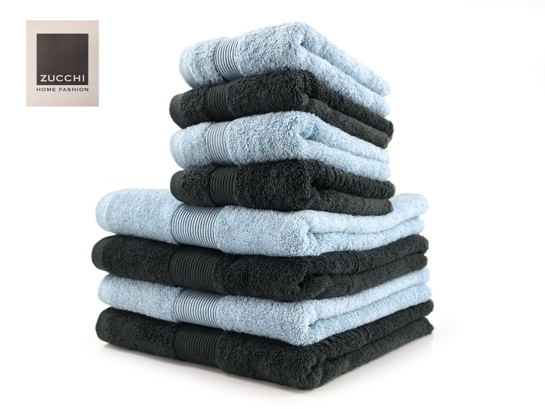 SET asciugamano 8 PEZZI Zucchi HOME FASHION Var. ASFALTO e OPALE + tavoletta profumo biancheria per armadi by biancocasa