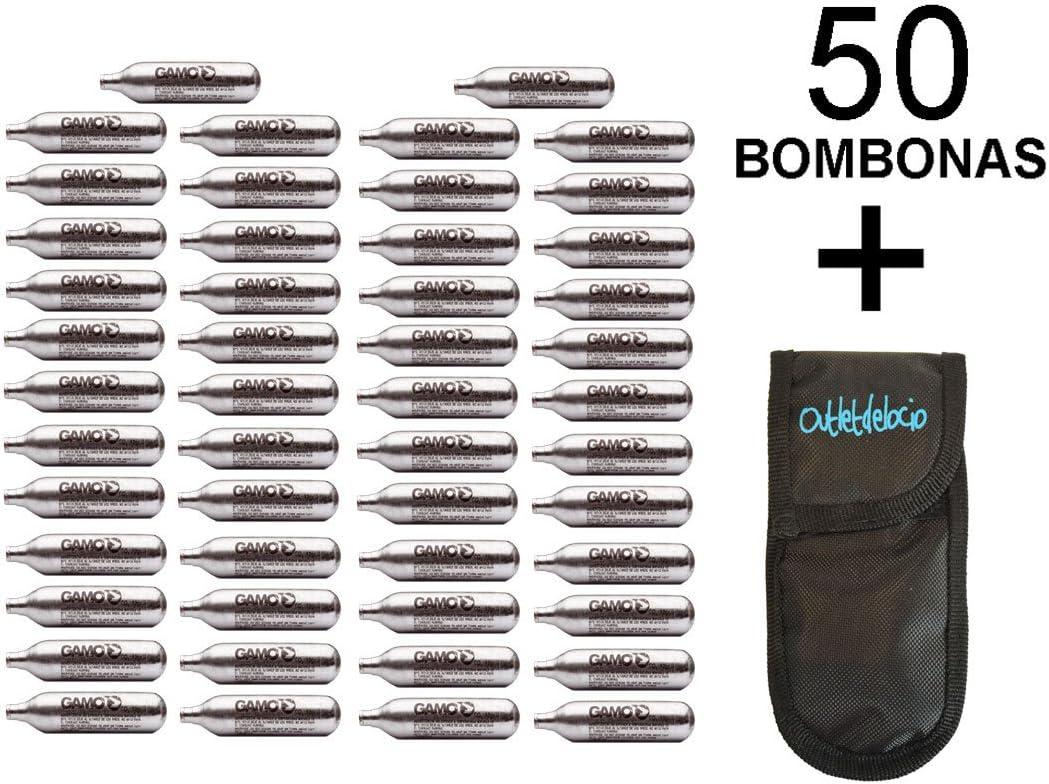 Outletdelocio. 50 bombonas co2 12gr. Umarex/Gamo/ASG para Pistolas y carabinas + Exclusiva Funda portabombonas
