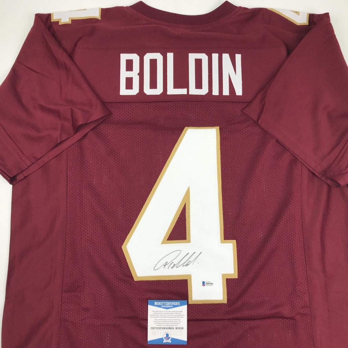 Autographed/Signed Anquan Boldin Florida State FSU Maroon College Football Jersey JSA COA
