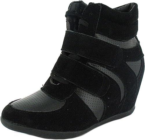 Black Hi Top Wedge Trainer Boots