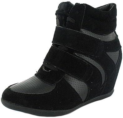 f248727bd94d Ladies/Womens Black Hi Top Wedge Trainer Boots - Black - UK SIZE 8 ...