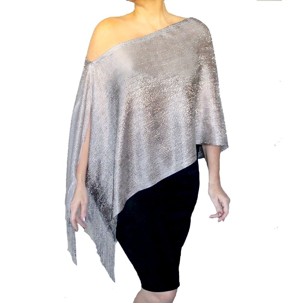 Silver Evening Shawl Mesh Stole Metallic Grey Dress Wrap By ZiiCi